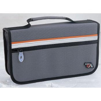 Папка-портфель без отделений А4 синяя с черным клапаном